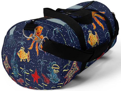 Exclusive Child Art Duffel Bag Under the Sea shown in NAVY Blue Gym Bag - Choice of Color & Size - personalize - Daisey's Doggie Chic