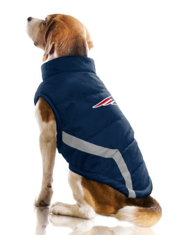 New England PATRIOTS NFL Dog s Puffer Vest Jacket in Color Navy Red - Daisey s  Doggie c417ccb50