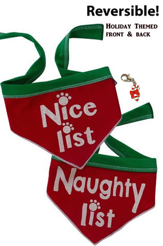 Naughty or Nice Reversible Holiday Scarf with Clip on Charm - color Red/Green - Daisey's Doggie Chic