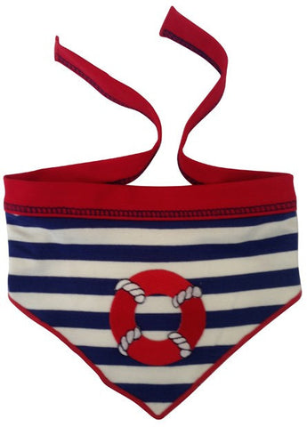 Nautical Life Preserver Bandana Scarf in color Navy/White - Daisey's Doggie Chic
