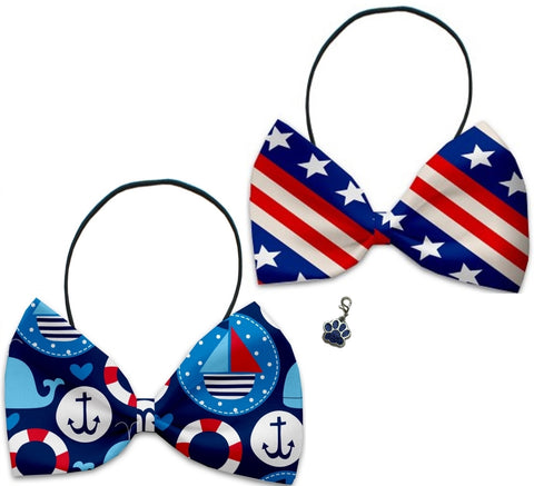 Nautical Patriotic Stars 'n Stripes  - Fun Party Themed Bowtie 2-Pack set with Charm Accessory for Dogs or Cats - Daisey's Doggie Chic