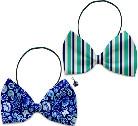 Newport Beach - Fun Party Themed Bowtie 2-Pack set with Charm Accessory for Dogs or Cats - Daisey's Doggie Chic