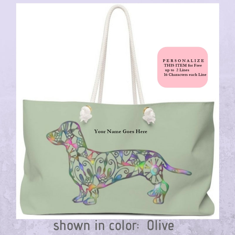 A Dachshund Weekender Bag - Color Olive - Oversized Tote - Free Personalization - Daisey's Doggie Chic