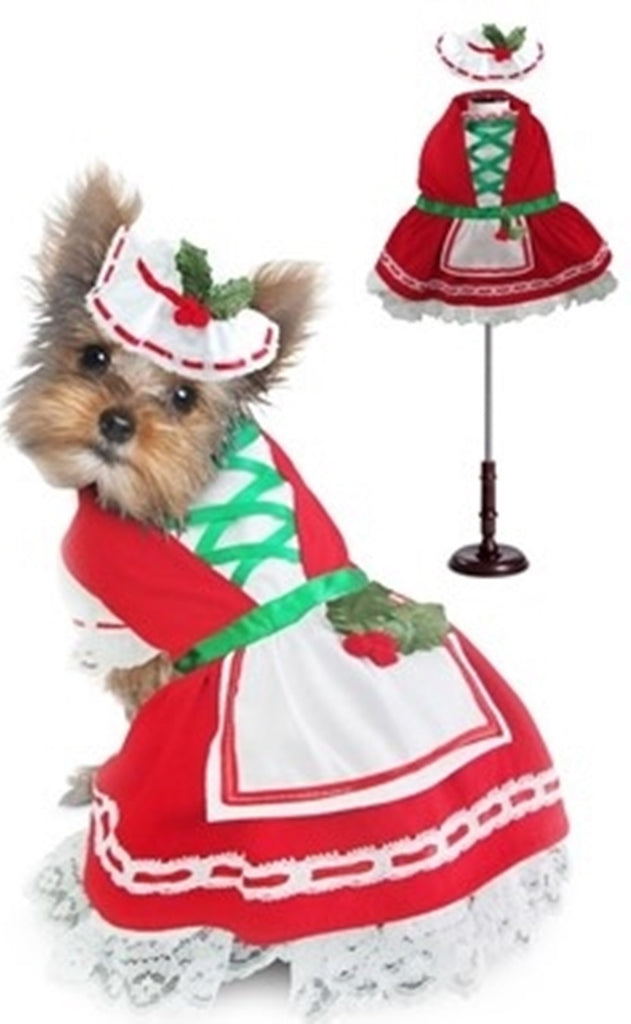 Christmas Holly Petticoat Dress - Dog Costume - Daisey's Doggie Chic