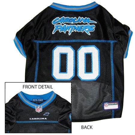 Carolina PANTHERS NFL dog Jersey in color Black - Daisey's Doggie Chic