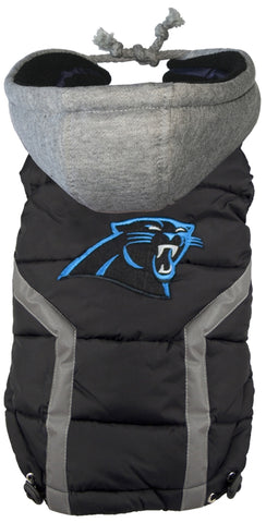 Carolina PANTHERS  NFL dog Jacket (Puffer Vest) in color Black - Daisey's Doggie Chic