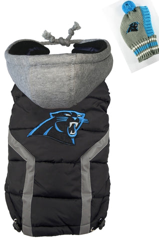 2 pc. Set Carolina PANTHERS NFL Dog's Puffer Vest Jacket  and Matching Snood Hat - Daisey's Doggie Chic