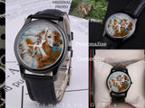 Personalize Custom Photo Art 30 Meters Waterproof Quartz Fashion Watch With Black Genuine Leather Band - Daisey's Doggie Chic