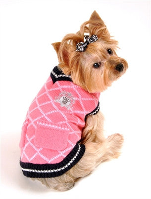 Royal Crest V-Neck Argyle Sweater for dogs in color Pink - Daisey's Doggie Chic - 2