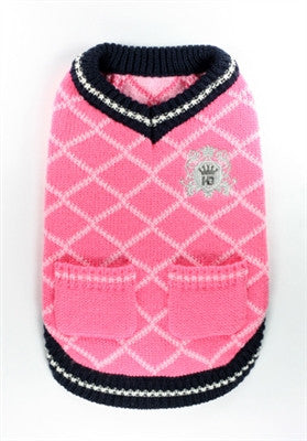 Royal Crest V-Neck Argyle Sweater for dogs in color Pink - Daisey's Doggie Chic