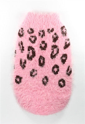 Feathersoft Cheetah Sweater in color Pink - Daisey's Doggie Chic
