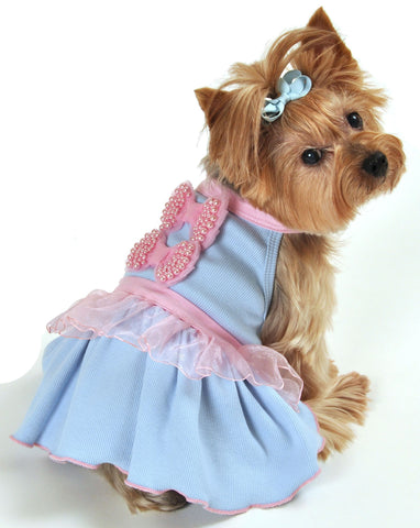 """Pink Pearled Bows"" Ribbed Dress in color Light Blue - Daisey's Doggie Chic"