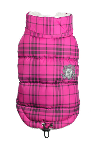 Shearling Puffer Vest Jacket in Color Pink Plaid - Daisey's Doggie Chic - 1