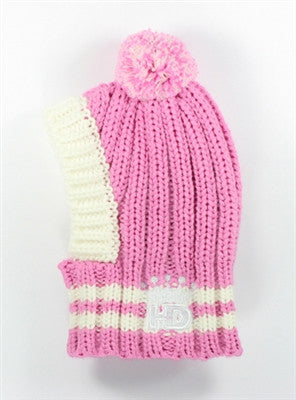 Crown Rib Knit Hat w/PomPom for Dogs in color Pink - Daisey's Doggie Chic