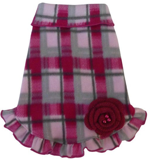 Cozy Fleece Pink/Gray Plaid Pullover Ruffled Skirt Tank Dress with Flower Pin - Daisey's Doggie Chic