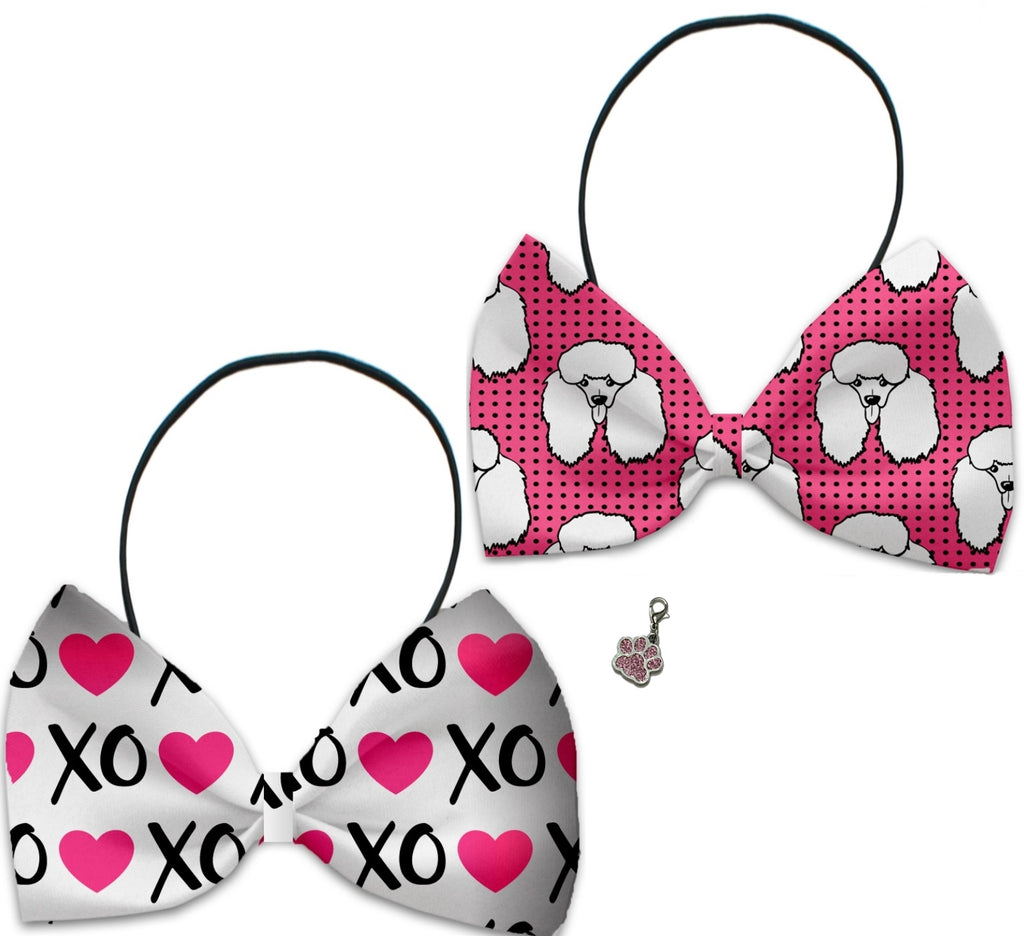 Pink Poodles Hugs 'n Kisses  - Fun Party Themed Bowtie 2-Pack set with Charm Accessory for Dogs or Cats - Daisey's Doggie Chic