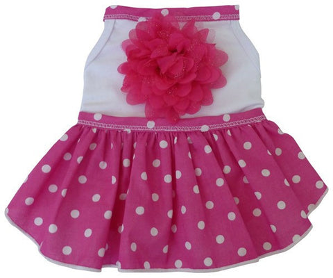 Pink Polka Dotted Daisy Party Dress - Daisey's Doggie Chic - 1