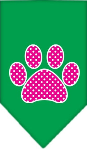 Pink Swiss Dotted Paw Bandana Scarf in color Emerald Green - Daisey's Doggie Chic