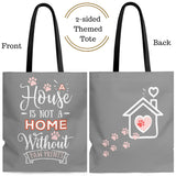 Carryall Tote Bag - House not a Home Without Paw Prints - 2-sided theme  - in Sizes S,M L - Gray/Pink - Personalize it Free - Daisey's Doggie Chic