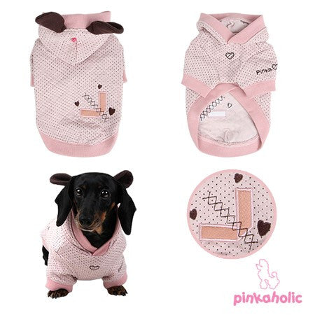 Pinkaholic NY Blossom Swiss Dot Bunny Hoodie color Light Pink - Daisey's Doggie Chic