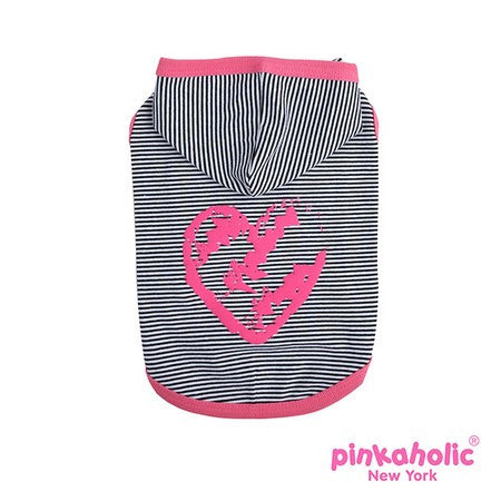 "Pinkaholic NY ""Harper Pinka"" Hooded Knit T-Shirt in Hot Pink Stripe - Daisey's Doggie Chic"