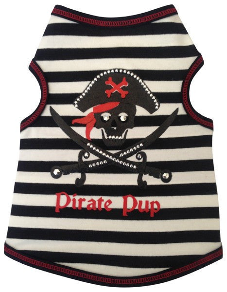 Pirate Pup Tank Top in 2 colors Black/Red or Pink/Black - Daisey's Doggie Chic