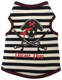 Pirate Pup Tank Shirt in color Black/Red - Daisey's Doggie Chic