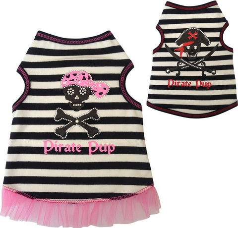 Pirate Pup Tank Top in 2 colors Black/Red or Pink/Black - Daisey's Doggie Chic - 1