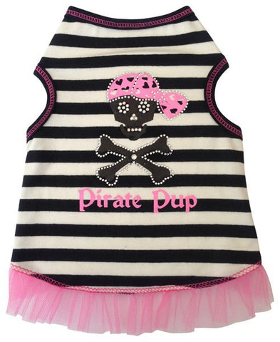 Pirate Pup Ruffled Tank Dress in color Pink/Black - Daisey's Doggie Chic