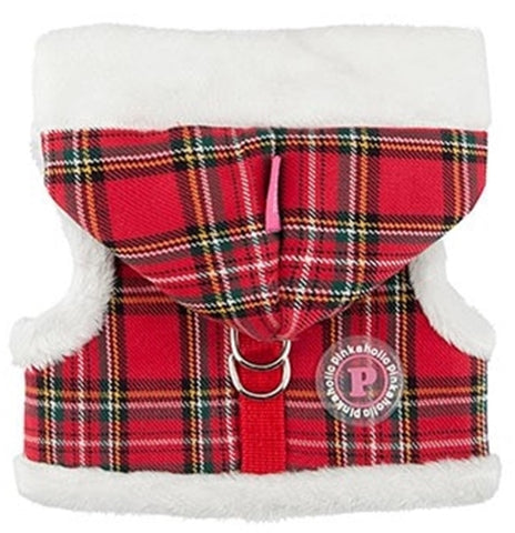 "Santa's Pinka ""Pinkaholic NY"" Holiday Hooded Harness Vest in color Red Check Plaid - Daisey's Doggie Chic"