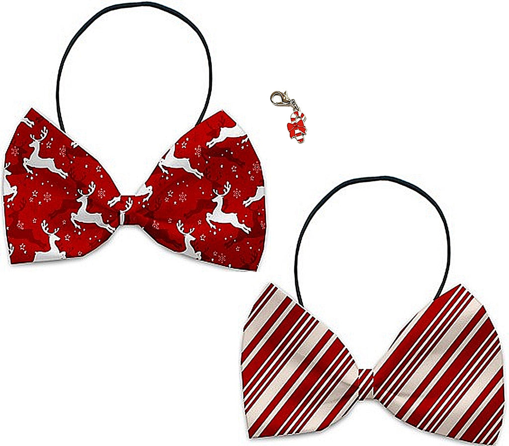Prancing Reindeer - Holiday Themed Bowtie 2-Pack set with Charm Accessory for Dogs or Cats - Daisey's Doggie Chic