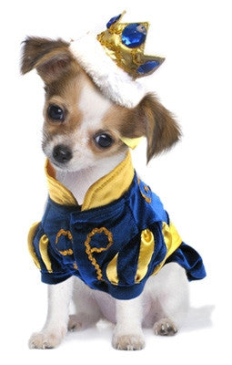 """Prince Charming""  Dog Costume with Bejeweled Crown - Daisey's Doggie Chic"