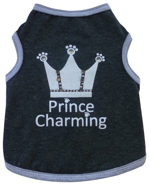 Prince Charming Jeweled Crown Tank Tee in color Charcoal Gray - Daisey's Doggie Chic