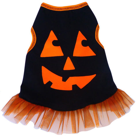 """Pumpkin Face"" Tulle Skirted Tank Dress in color Black/Orange - Daisey's Doggie Chic"