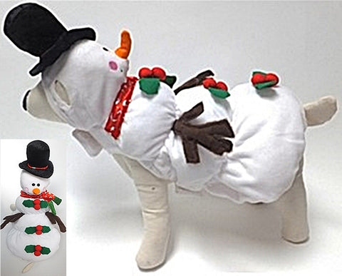 Snowman - Winter Wonderland Themed Dog's Costume - in White - Daisey's Doggie Chic