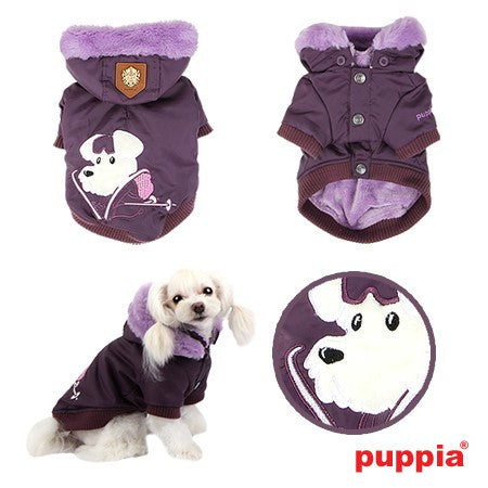 "Alpine Ski-Mutt Patrol by ""Puppia"" Fur Hooded Winter Coat in Color Purple - Daisey's Doggie Chic"