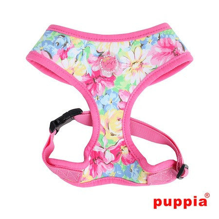 "Puppia ""Spring Garden Floral"" Choke-Free Halter Harness in Color Pink - Daisey's Doggie Chic"
