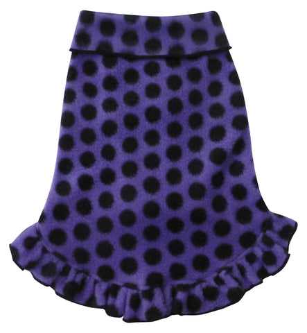 Cozy Fleece Pullover Tank Dress w/Ruffle Skirt in color Purple/Black Dots - Daisey's Doggie Chic