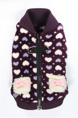 Purple Hearts Plush Polar Fleece Sweater Vest in color Deep Purple - Daisey's Doggie Chic - 1