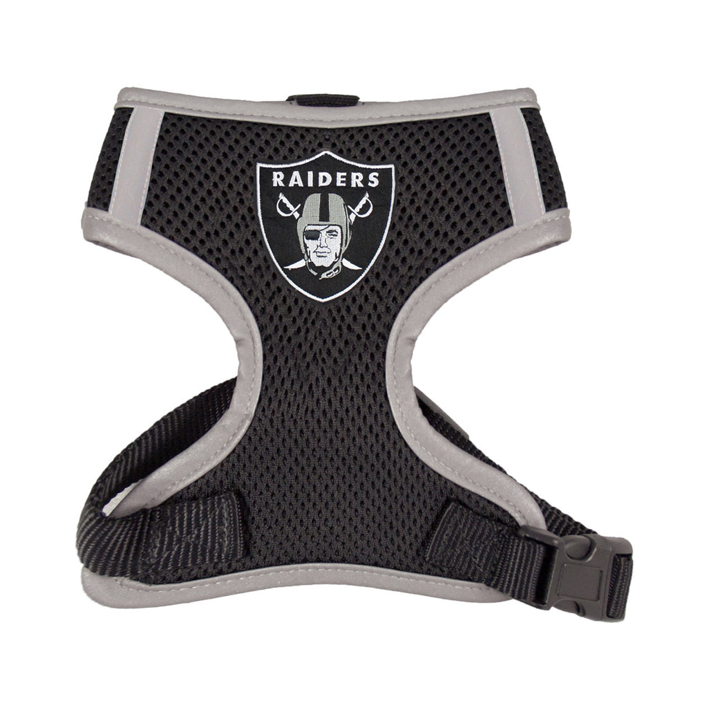 Oakland RAIDERS NFL dog Reflective Harness in Color Black - Daisey's Doggie Chic