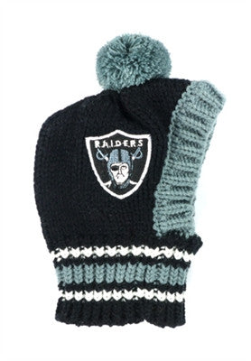 Oakland RAIDERS NFL Official Licensed Ski Hat for Dogs in color Black/Silver - Daisey's Doggie Chic