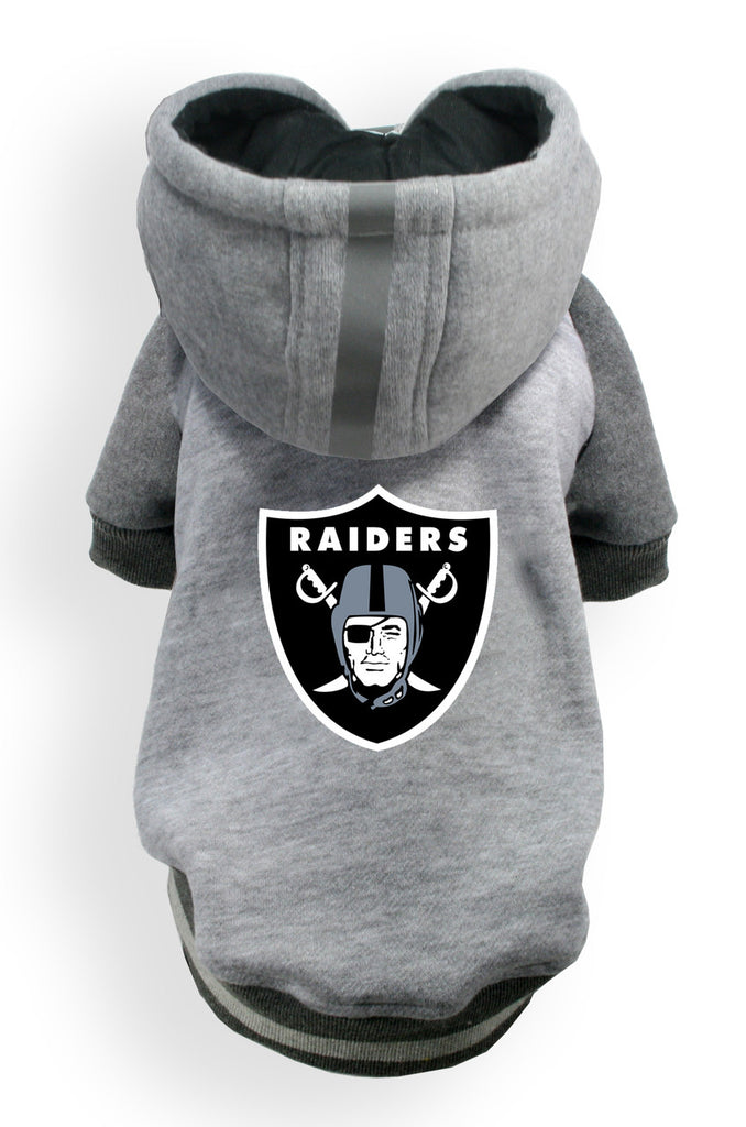 Oakland RAIDERS NFL dog Helmet Hoodie in color Athletic Gray - Daisey's Doggie Chic