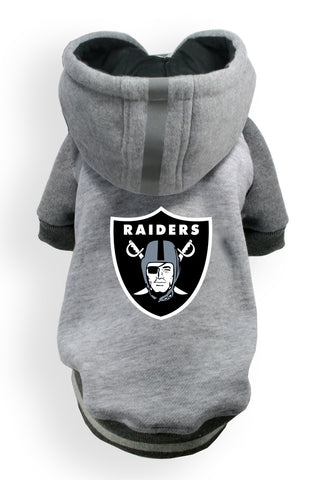 Oakland RAIDERS NFL dog Helmet Hoodie in color Athletic Gray - Daisey's Doggie Chic - 1