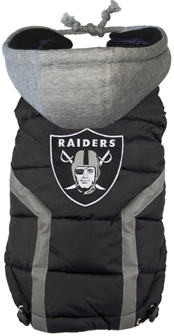 Oakland RAIDERS NFL dog Jacket (Puffer Vest) in color Black - Daisey's Doggie Chic - 1