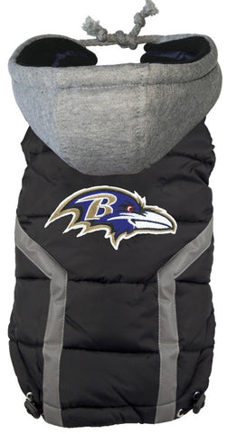 Baltimore RAVENS  NFL dog Jacket (Puffer Vest) in color Black - Daisey's Doggie Chic - 1