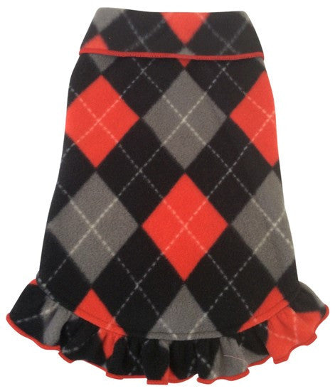 Cozy Classic Red/Black Argyle Plaid Fleece Pullover Tank Dress - Daisey's Doggie Chic