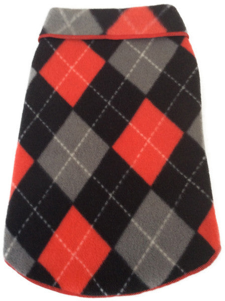 Cozy Classic Red/Black Argyle Plaid Fleece Pullover Tank - Daisey's Doggie Chic