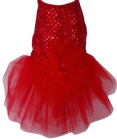 Dreamy Holiday Red Sequined Velvet/Chiffon Party Dress - Daisey's Doggie Chic