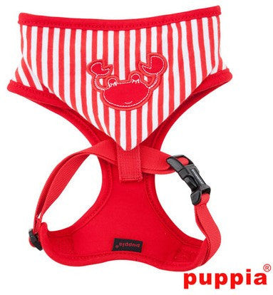 Crabby Beach Party Red Hooded Choke-Free Halter Harness with Smart Tag - Daisey's Doggie Chic - 3