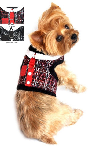 Doggie Design Tweed Plush Minky Fur Harness Vest with Leash - available in 2 colors - Daisey's Doggie Chic